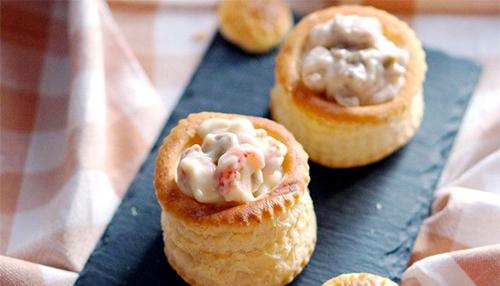 Mini Paris Mushrooms Bouchées with Bay Scallops