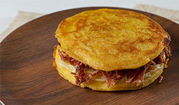 Grilled Mozzarella Corn Sandwich with Bacon, Ham & Cheese