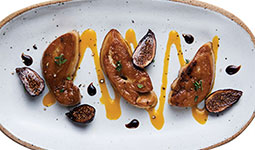 Pan seared foie gras with fig and porto wine sauce