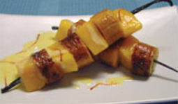 Mango & Sweet Plantain on Vanilla Stick & Saffron Sauce