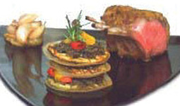 Rack of Lamb with a Maille Whole Grain Crust & Grilled Vegetable Mille-Feuille
