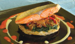 Roasted Salmon on Ratatuille Galette
