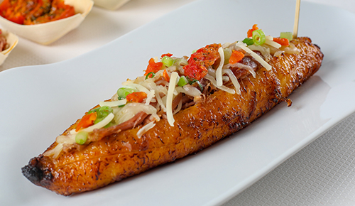 Whole Sweet Plantain Stuffed with Pulled Pork