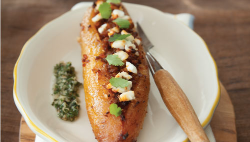 Chorizo and Goat Cheese Stuffed Plantains